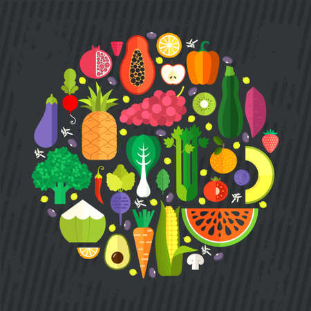 exotic fruits: collection of fresh healthy fruits and vegetables made in flat style