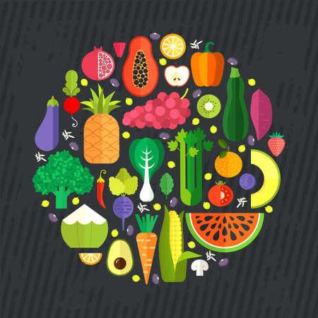 owoców: Zbiór świeżych zdrowych owoców i warzyw wykonane w stylu płaskiej