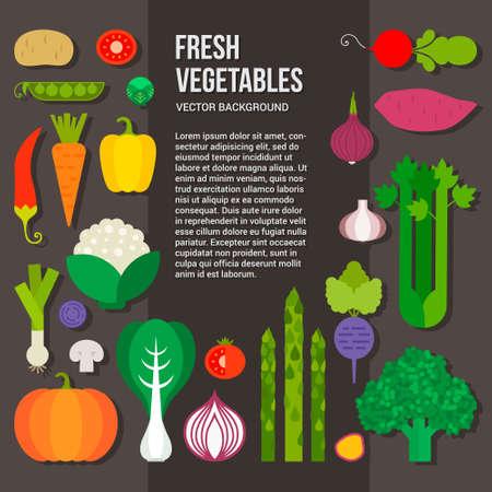 verduras: Las verduras frescas concepto vectorial. Dieta saludable estilo de ilustraci�n plana. Alimentos verdes aislado, se puede utilizar en el men� del restaurante, los libros de cocina y etiquetas agr�colas org�nicos.