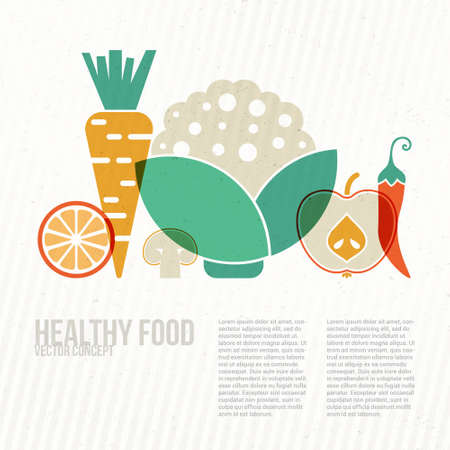 Modern healthy food concept with flat illustrations of vegetables and fruits and place for your text. Vector diet or organic farm template. Vector