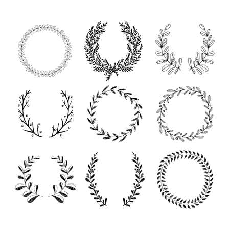 adorning: Collection of handdrawn laurels and wreaths. Floral wreath with copyspace for your text. Save the date, wedding or invitation card design element. Valentine's card design template.