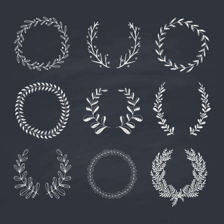 laurel branch: Collection of hand drawn laurels and wreaths