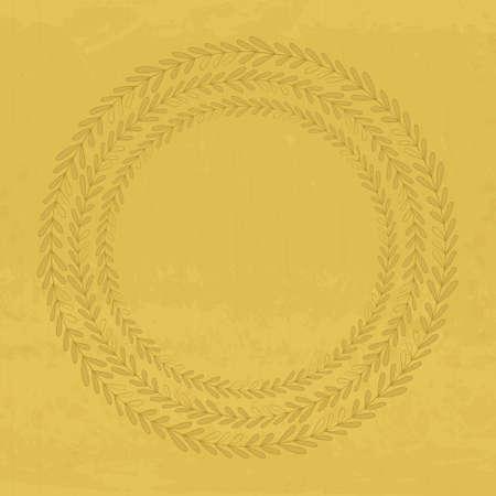 texturized: Hand drawn wreath on textured background