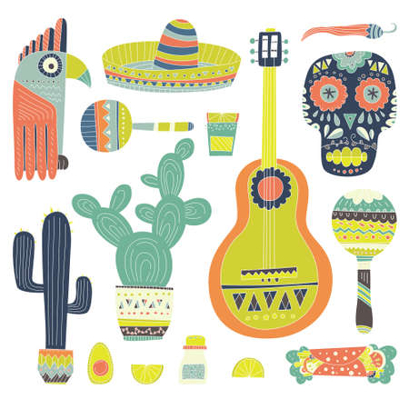 Hand drawn set of mexican symbols - guitar, sombrero, tequila, taco, skull, aztec mask, music instruments Ilustração