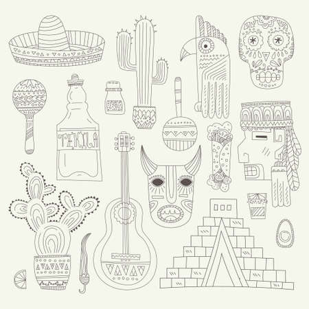 guitar background: Hand drawn set of mexican symbols - guitar, sombrero, tequila, taco, skull, aztec mask, music instruments. Isolated national elements made in vector. Travel to Mexico icons for cards and web pages.