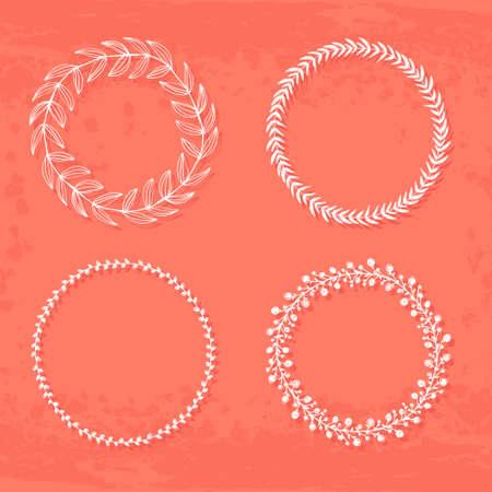 texturized: Round hand drawn wreaths on textured vintage background Illustration
