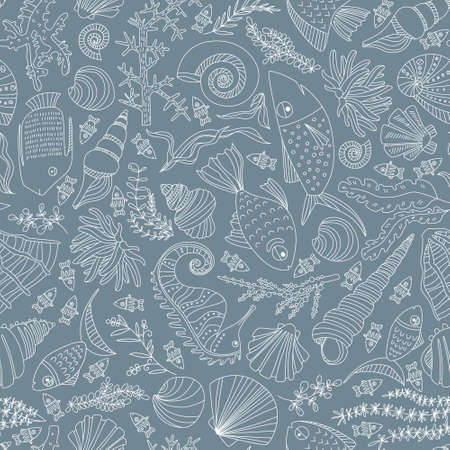 seamless pattern with hand drawn fishes, corrals, shells, seaweeds, sea-horse and other underwater creatures Vector