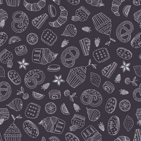blueberry pie: Sweet seamless pattern with different desserts: cupcake, ice cream, pie, fruits Illustration
