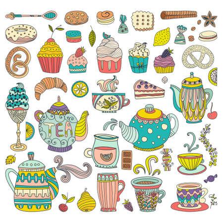 prodotti da forno: T�, caff� e dessert isolati elementi di vettore di doodle. I prodotti da forno e dolci per la progettazione. Grande per menu del ristorante, bar o carte di buon compleanno. Vettoriali
