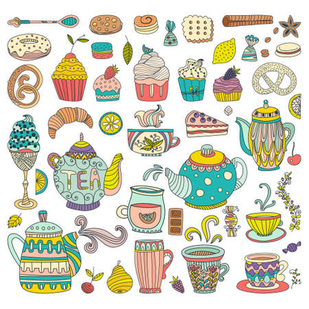 tea and biscuits: Tea, coffee and dessert isolated vector doodle elements. Baked goods and sweets for your design. Great for restaurant menu, cafe or happy birthday cards.