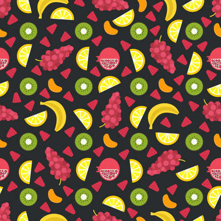 juice bar: Seamless vector background with different fruits and berries. Great for restaurant menu backdrop, healthy food concept, juice bar illustration. Vegetarian colorful texture. Great summer tile.