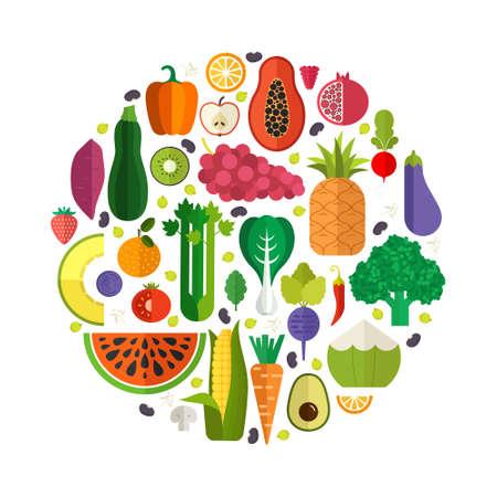 owoców: Kolekcja wektora świeżych zdrowych owoców i warzyw wykonane w stylu płaskiej - każdy z nich jest izolowana, łatwy w użyciu. Zdrowy styl życia i dieta element. Ilustracja