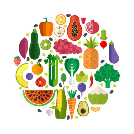 Vector collection of fresh healthy fruits and vegetables made in flat style - each one is isolated for easy use. Healthy lifestyle or diet design element.