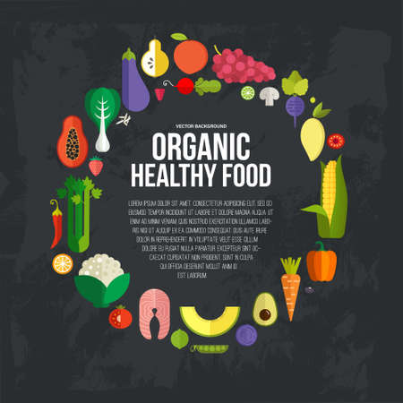 Dieta y plantilla de alimentos orgánicos. Concepto de alimentación saludable con frutas vector planas, verduras y copyspace. Grande para revistas sanos, sitios web de cocina y restaurante boletines. Foto de archivo - 38419427