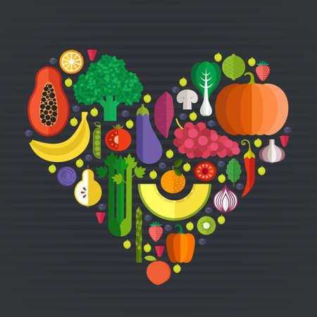 신선한 건강 과일과 플랫 스타일에서 만든 야채 벡터 컬렉션 - 각각의 하나는 쉽게 사용하기 위해 격리됩니다. 건강한 라이프 스타일이나 다이어트 디 일러스트