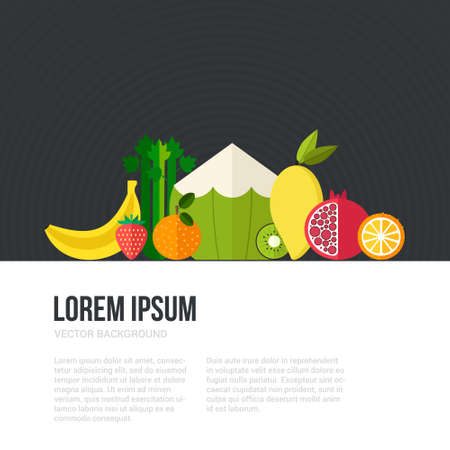 pommegranate: Healthy eating concept with flat fruits, vegetables and copyspace