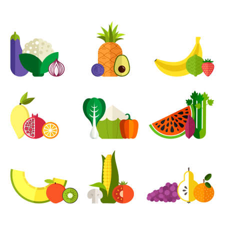 fruit illustration: Vector collection of fresh healthy fruits and vegetables made in flat style - each one is isolated for easy use. Healthy lifestyle or diet design element.