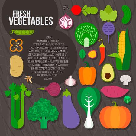 Fresh vegetables concept. Healthy diet flat style illustration