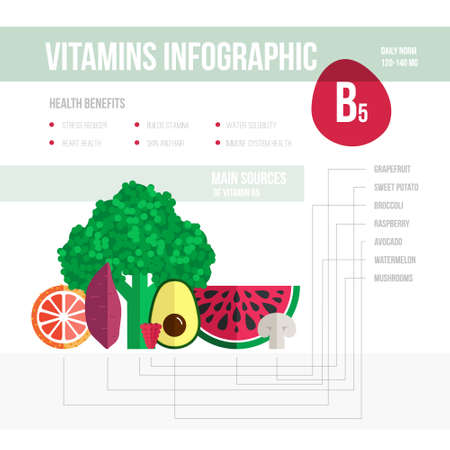 vitamine: Healthy lifestyle infographic - vitamine B5 in fruits and vegetables Illustration