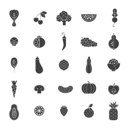 pommegranate: Modern flat icons with different vegetables and fruits. Green organic veggies symbols for web pages, menu and ither healthy lifestyle designs.