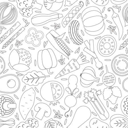 seamless pattern with different vegetables Ilustrace