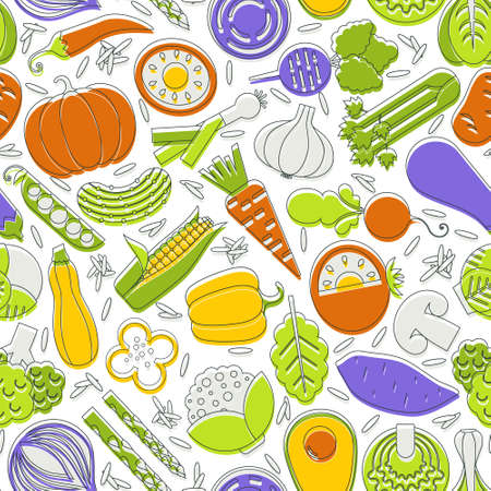 spinach salad: seamless pattern with different vegetables Illustration