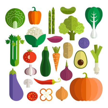 플랫 스타일에서 만든 신선한 건강 야채 세트