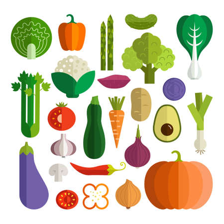 Set of fresh healthy vegetables made in flat style Ilustração