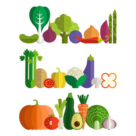celery: Set of fresh healthy vegetables made in flat style - each one is isolated for easy use. Healthy lifestyle or diet vector design element. Organic farm illustration. Illustration