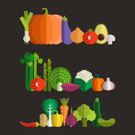 celery: Set of fresh healthy vegetables made in flat style Illustration