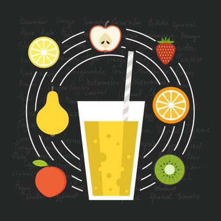 rindfleisch roh: Frucht-Smoothie Vektor-Konzept. Men�element f�r Caf� oder Restaurant mit energetischen frisches Getr�nk in flachen Stil. Frischer Saft f�r ein gesundes Leben. Organisch roh sch�tteln. Illustration