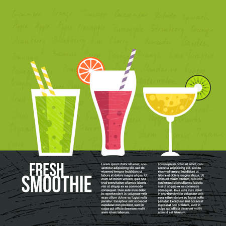 juice: Fruit smoothie vector concept. Menu element for cafe or restaurant with energetic fresh drink made in flat style. Fresh juice for healthy life. Organic raw shake.