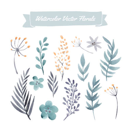 手描き水彩ベクトル花と葉のセットです。夏の結婚式、春のお祝いカードのデザイン要素です。完璧な花の要素は日付カードを保存します。あなた