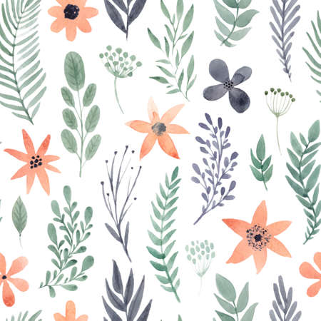 Floral watercolor seamless pattern Ilustracja