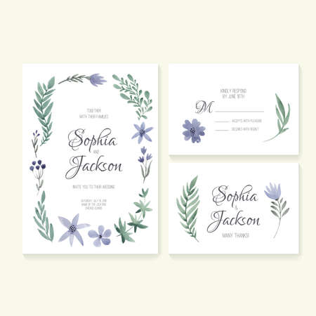 Unique gentle vector wedding cards template with watercolor. Wedding invitation or save the date, RSVP and thank you card for bridal design. Vector watercolor postcard collection with floral decoration. Ilustrace