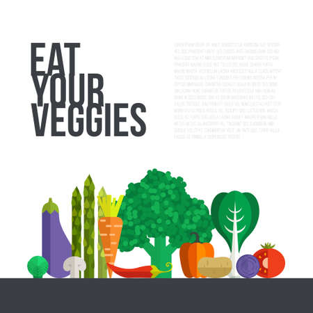 vegetable: Fresh vegetables vector concept. Healthy diet flat style illustration. Isolated green food, can be used in restaurant menu, cooking books and organic farm labels.