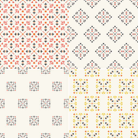 simple border: Elegant collection of four geometric seamless patterns. Ornamental background for cards, invitations, web pages. Retro texture or digital paper. Abstract modern tile.