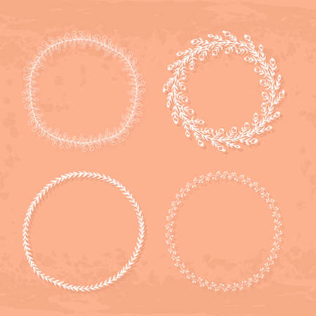 adorning: Round handdrawn wreaths on texturized vintage background. Collection of clip art vector bouquets. Romantic wreath with copyspace for your text.