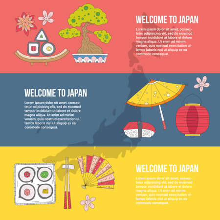 Traditional japanese symbols. Asian vector graphic elements. Travel concept. Handdrawn artistic illustration. Japan culture concept. Vector