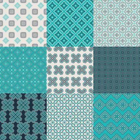 Conjunto de nueve patrones de vectores sin fisuras geométricas. Texturas vintage. Fondo decorativo para tarjetas, invitaciones, diseño de páginas web. Papel digital retro.