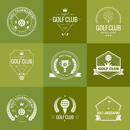 골프 클럽 템플릿 집합입니다. 샘플 텍스트 소식통 스포츠 레이블입니다. 골프 대회, 단체 및 골프 클럽 우아한 빈티지 아이콘입니다. 벡터 디자인. 일러스트