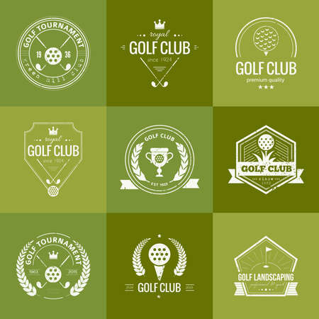 golf stick: Set of golf club templates. Hipster sport labels with sample text. Elegant vintage icons for golf tournaments, organizations and golf clubs. Vector  design.