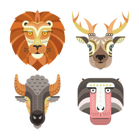 monkey face: Animal portraits made in unique geometrical flat style. Vector heads of lion, deer, buffalo, monkey. Isolated icons for your design.