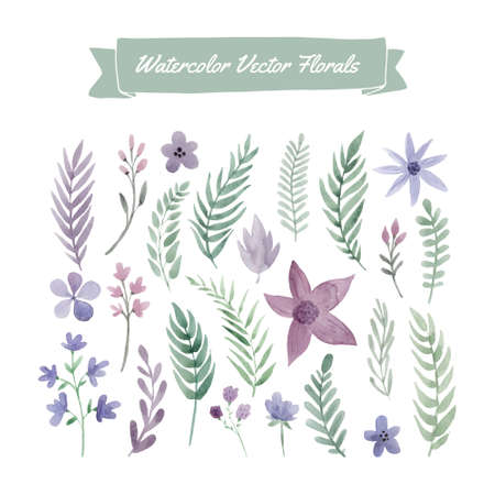 Set of handpainted watercolor vector flowers and leaves. Design element for summer wedding, spring congratulation card. Perfect floral elements for save the date card. Unique artwork for your design. Banco de Imagens - 40313412