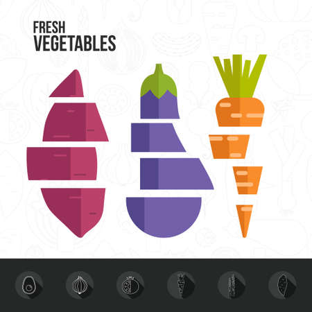 pommegranate: Healthy eating infographic with different vegetables in flat style. Diet and organic food magazine template.