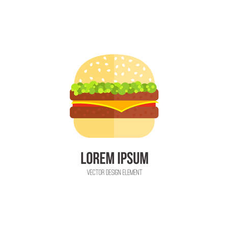 eating habits: Hamburger vector concept. Design element for restaurant menu illustration or for. Flat design of food. Diet and unhealthy eating habits illustration. Illustration