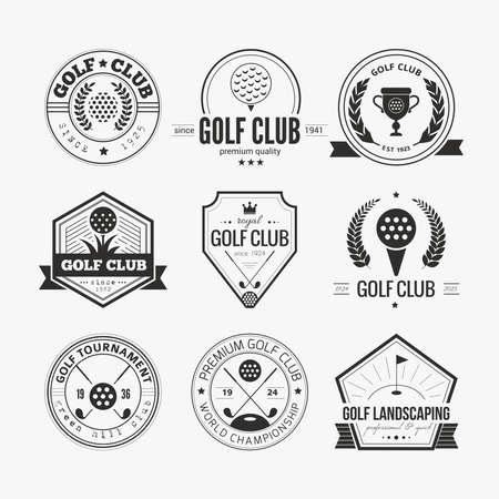 골프 클럽 템플릿 집합입니다. 샘플 텍스트 소식통 스포츠 레이블. 골프 대회, 단체 및 골프 클럽에 대한 우아한 빈티지 아이콘. 벡터 일러스트