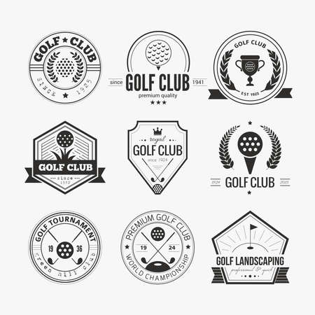 golf clubs: Set of golf club templates. Hipster sport labels with sample text. Elegant vintage icons for golf tournaments, organizations and golf clubs. Vector  Illustration