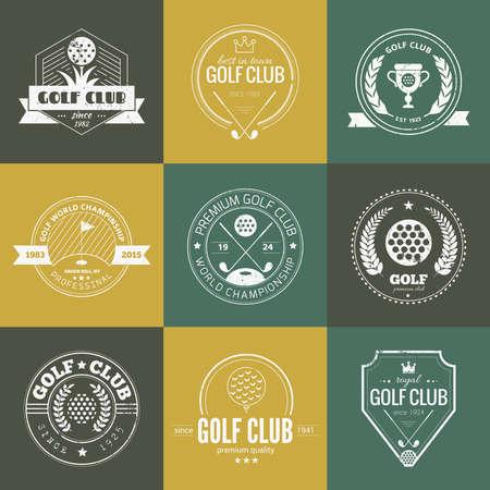 golf stick: Conjunto de modelos de palos de golf. Etiquetas deporte Hipster con texto de ejemplo. Iconos de la vendimia elegantes para torneos de golf, organizaciones y clubes de golf. Dise�o del vector. Vectores