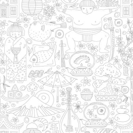 Vector seamless pattern with hand drawn japanese symbols, including geisha, sakura, bonsai, lantern. Cute unique doodle background for digital scrapbooking, wallpapers and fabric, travel website background. Travel to Japan concept. Vector